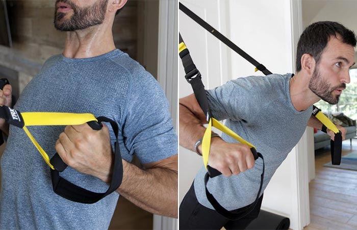 two images of a guy doing trx