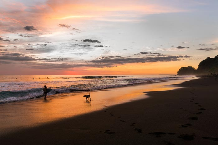 Beach with a sunset view in Costa Rica